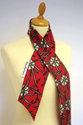 Floral Wind red silk scarf