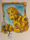 The Robot & the Flower Watercolor