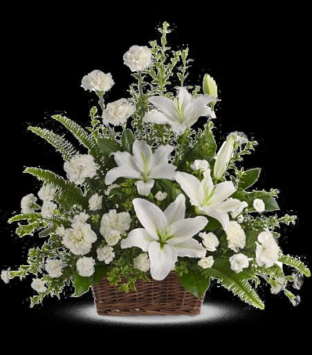 T228 1A Peaceful White Lilies Basket Cainsbridalwreath