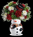 T13X400A Snowman Cookie Jar Bouquet