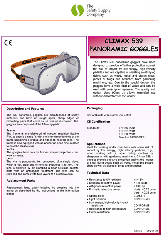 RHINOtec Anti Mist Indirect Vents Clear Polycarbonate Lens Safety Work Goggles