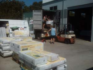 Unloading a container at our Ballina warehouse