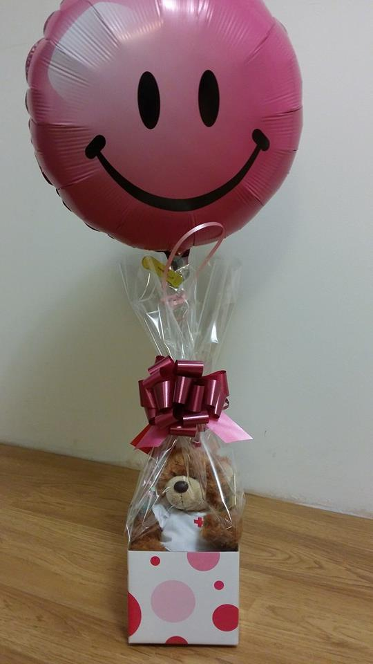 Pink Smiley Balloon with Nurse Teddy Bear