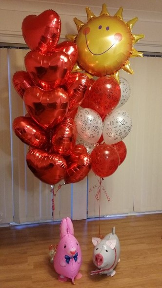 Love Balloon Bouquet and walking pet balloons