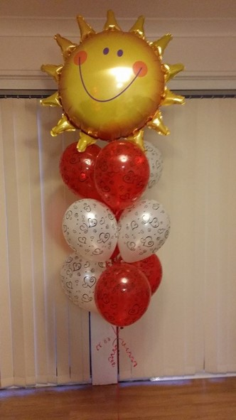 Radiant Sun Balloon Bouquet Love Theme