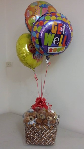 Get Well Balloons and Teddy Bears