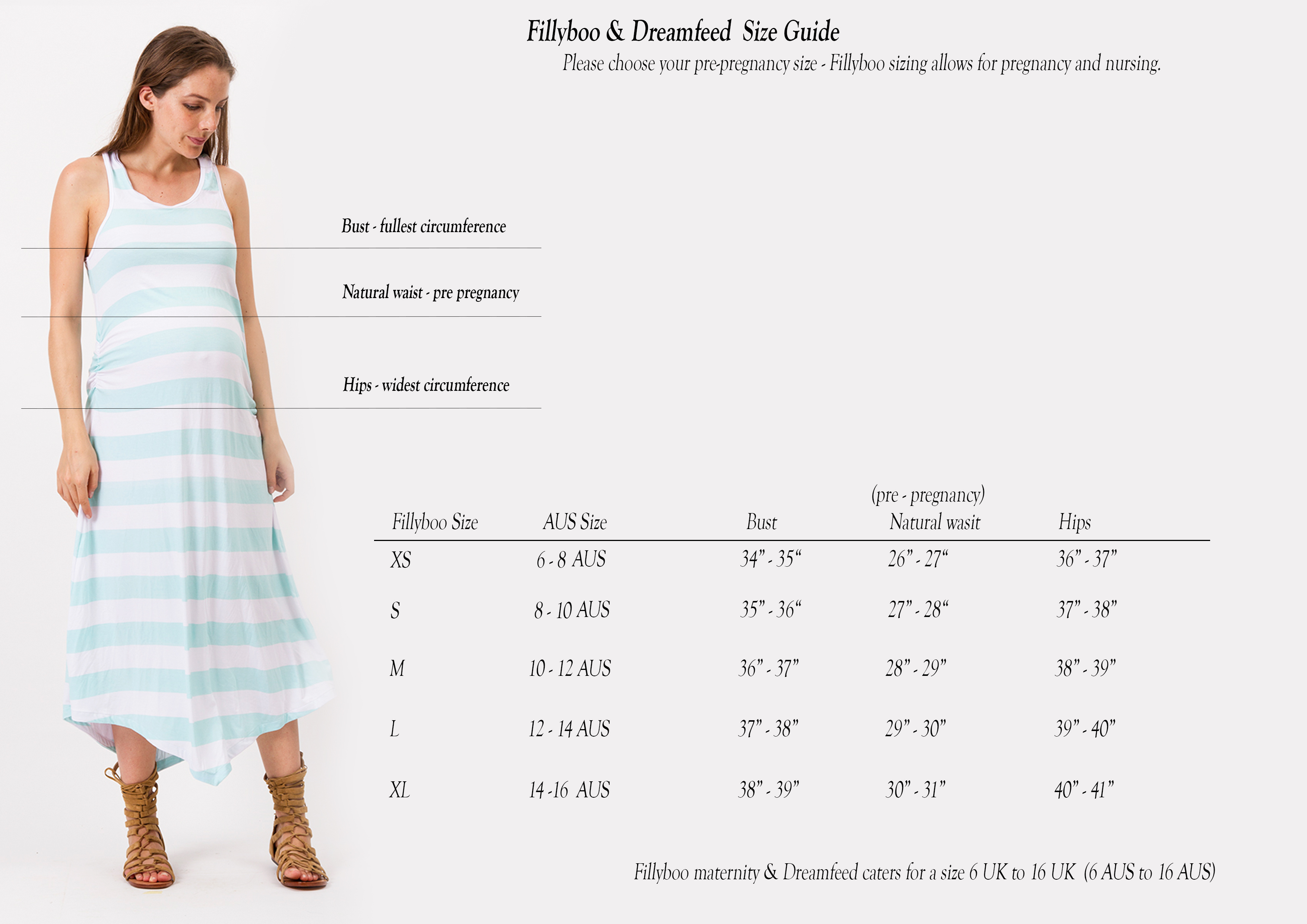FILLYBOO Australian sizing and fit guide FILLYBOO