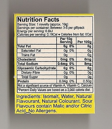 Caring Candies candy cane nutrition panel