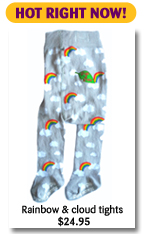 Slugs & Snails Rainbow and cloud tights $24.95