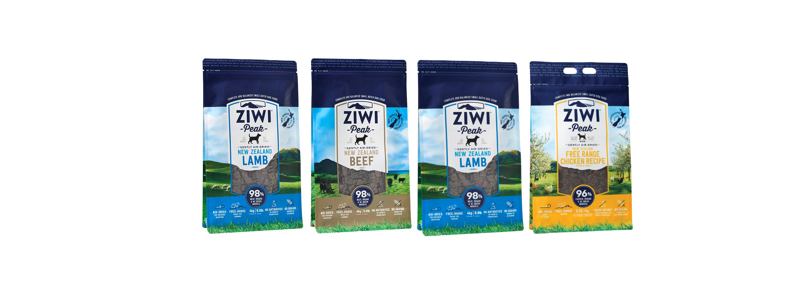 ZIWI Peak Air-Dried Beef or Air-Dried Lamb, Natural Dog Food, 4kg pouch