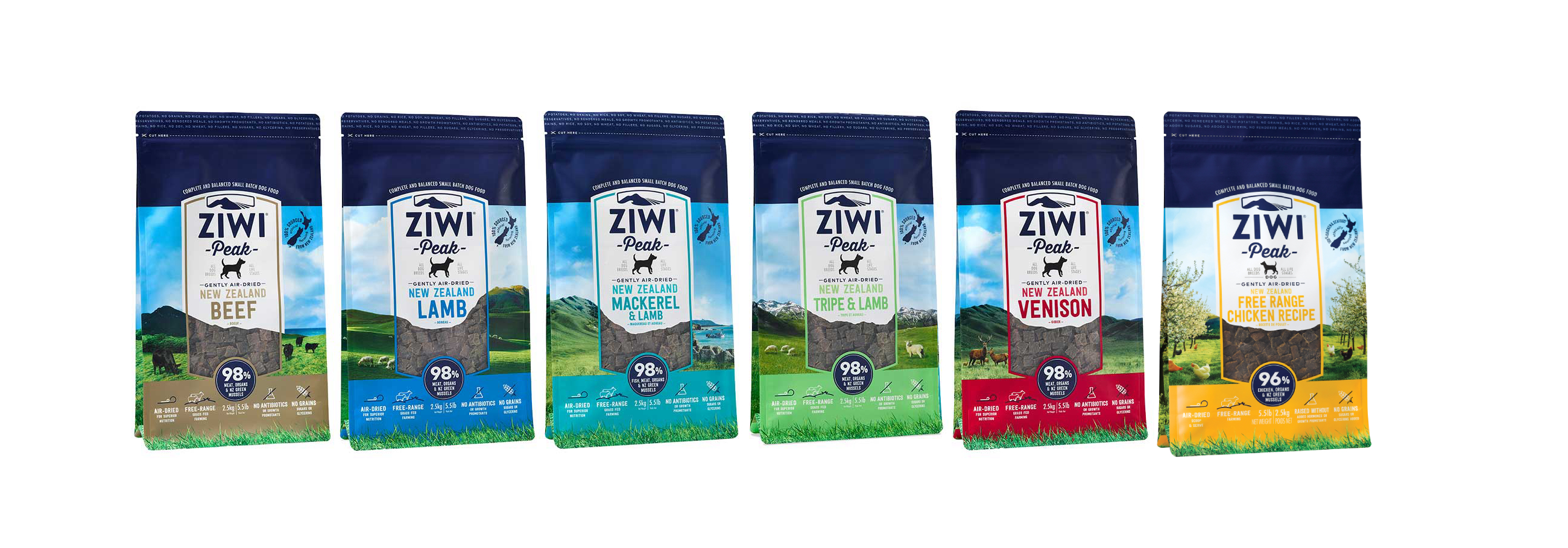 NEW Air-dried Ziwi Peak dog food, Beef, Lamb, Venison, Mackerel & Lamb, Tripe & Lamb