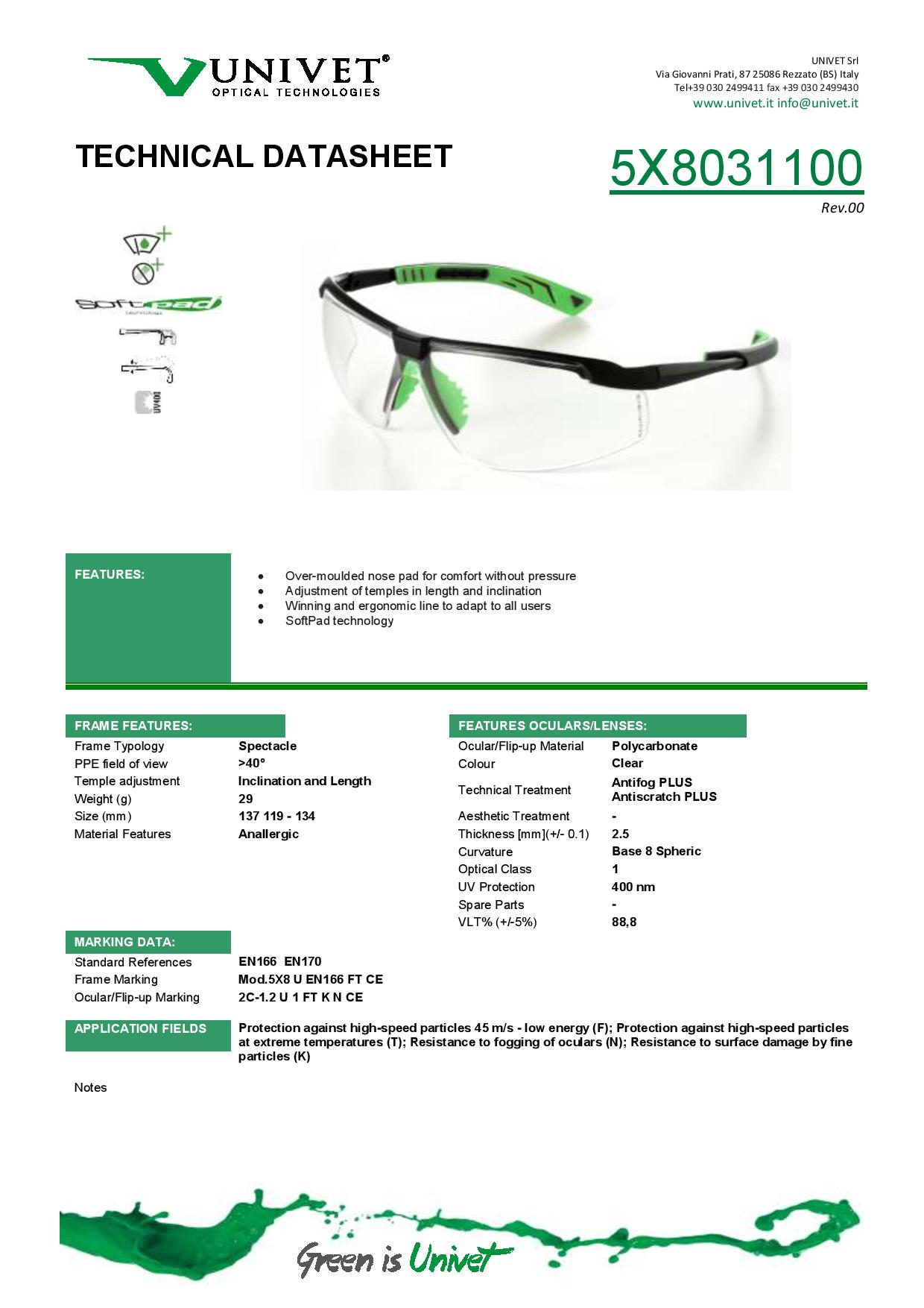 d67d65020f6 KN Rated - 5X8 UNIVET Safety Spectacles - Anti-Scratch - Anti-Fog ...