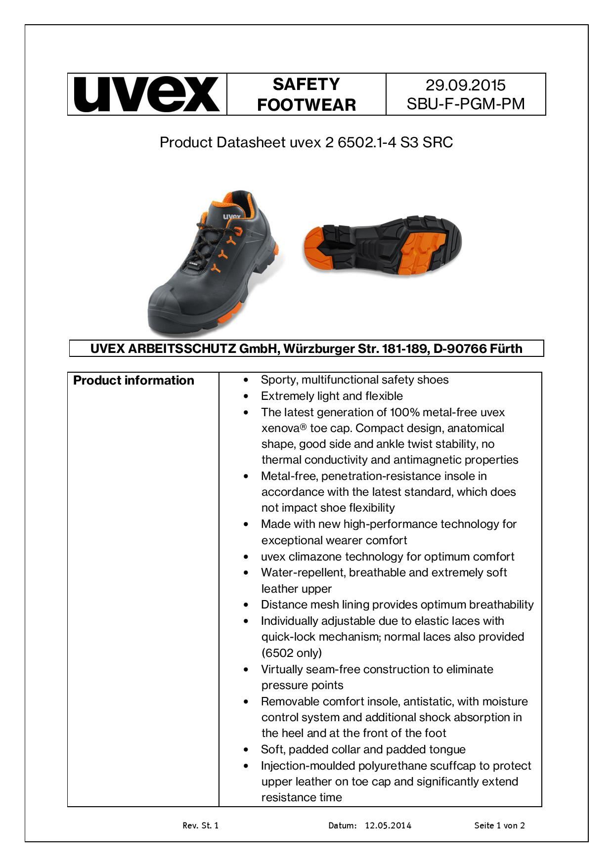 Uvex Safety Shoes - Conforms to EN ISO 20345: 2011 S3 SRC