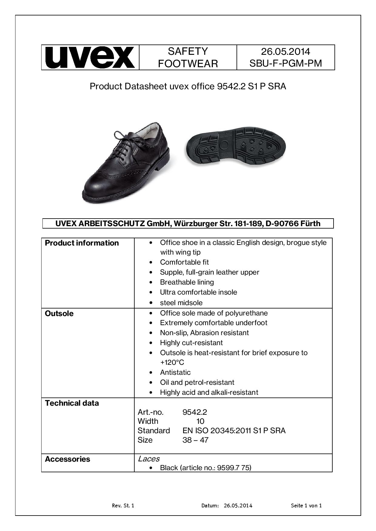 7e3ebc89bd5d UVEX Black Classic Brogue Executive Safety Shoe with Steel Midsole ...