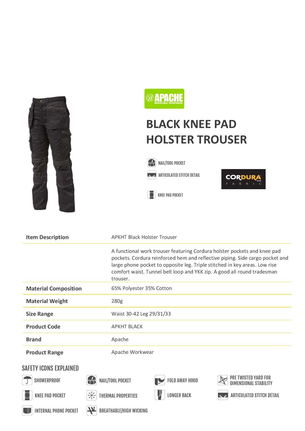 6e9ff007bc413 Apache Black Knee Pad Holster Trouser - 280g - Short Leg 29