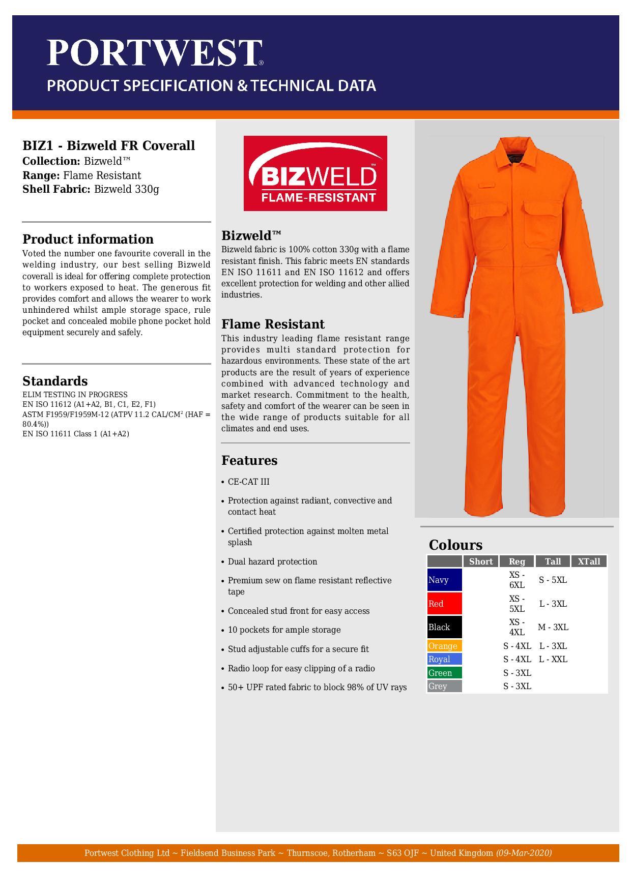 Portwest BIZ1ORRXXL Bizweld Flame Resistant Coverall Regular Size: XX-Large Orange