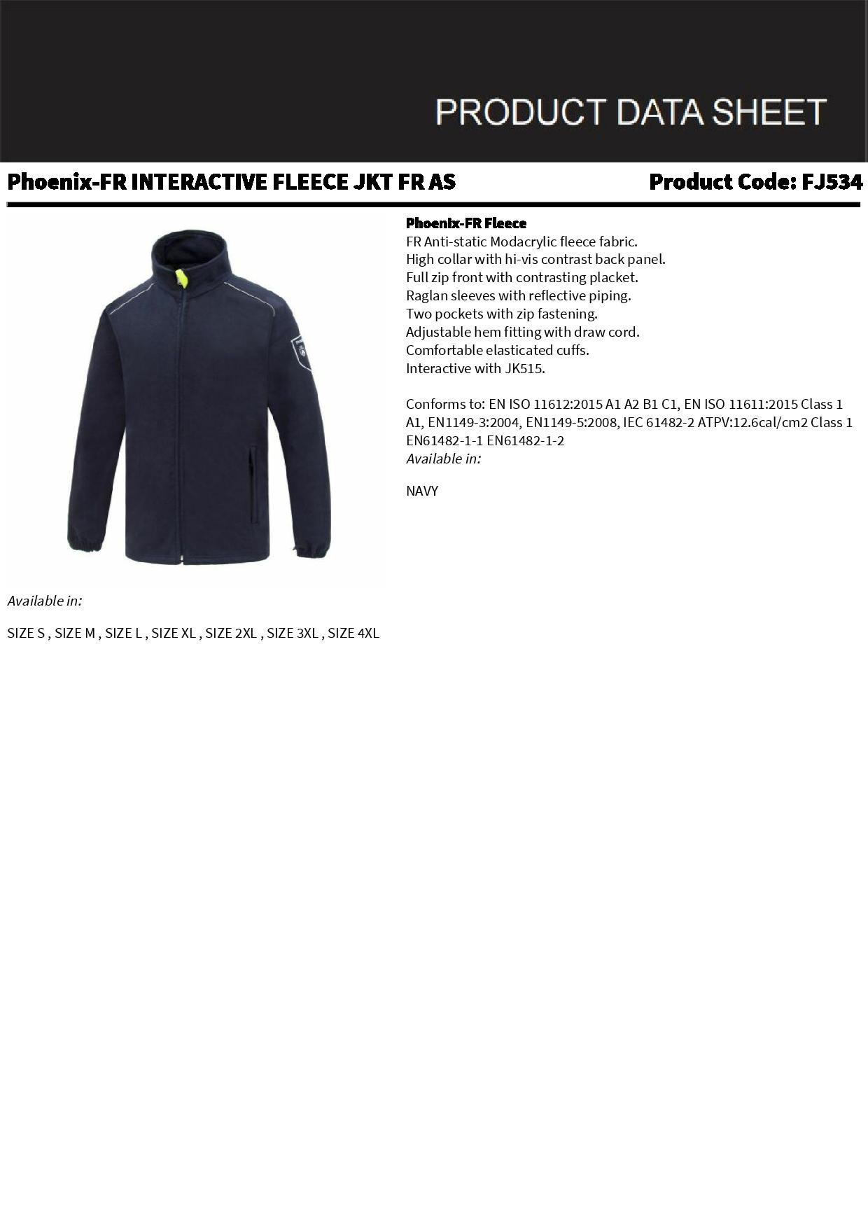 92efa0ec277 Phoenix - Flame Retardant Anti-Static Protection Fleece Jacket ...