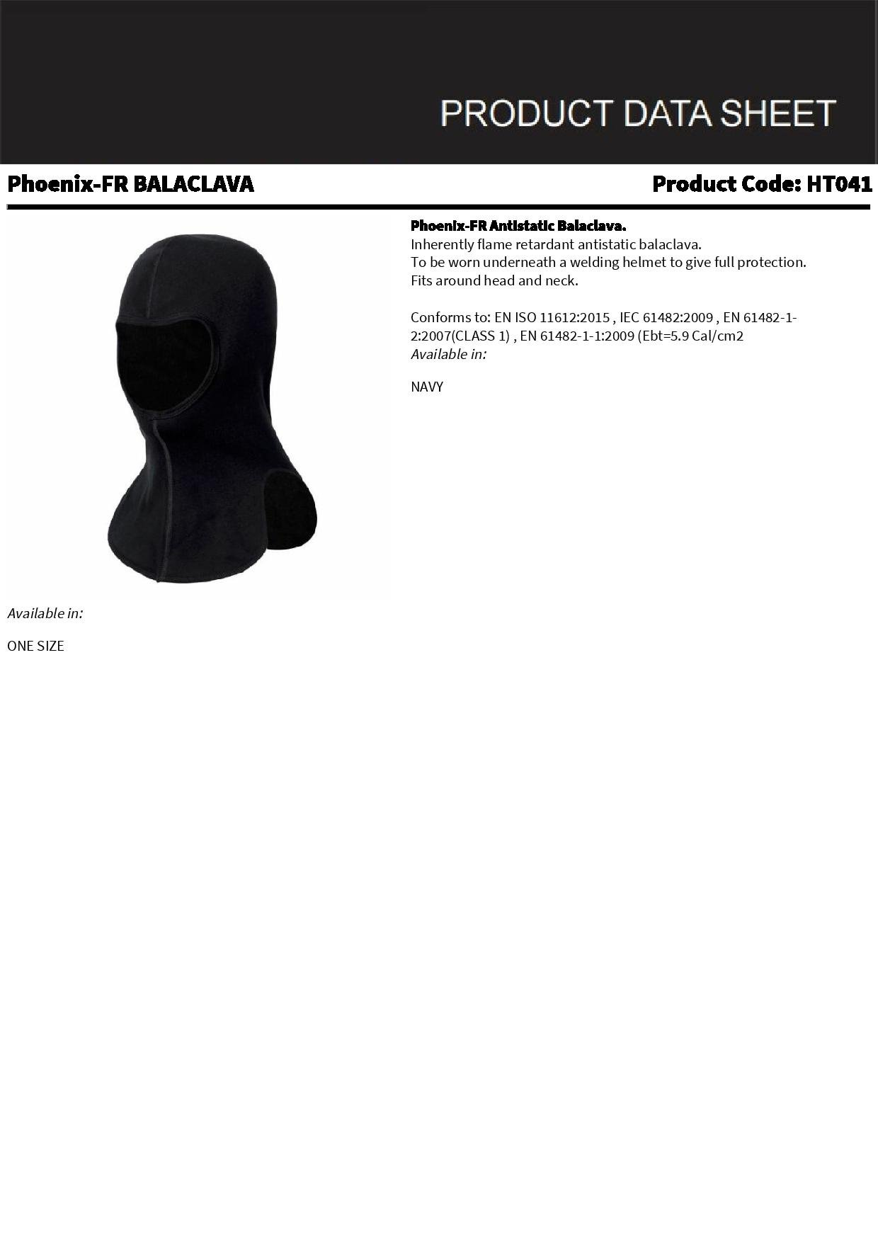 Phoenix Flame Retardant Anti Static Navy Balaclava Head Protection Safety FR New