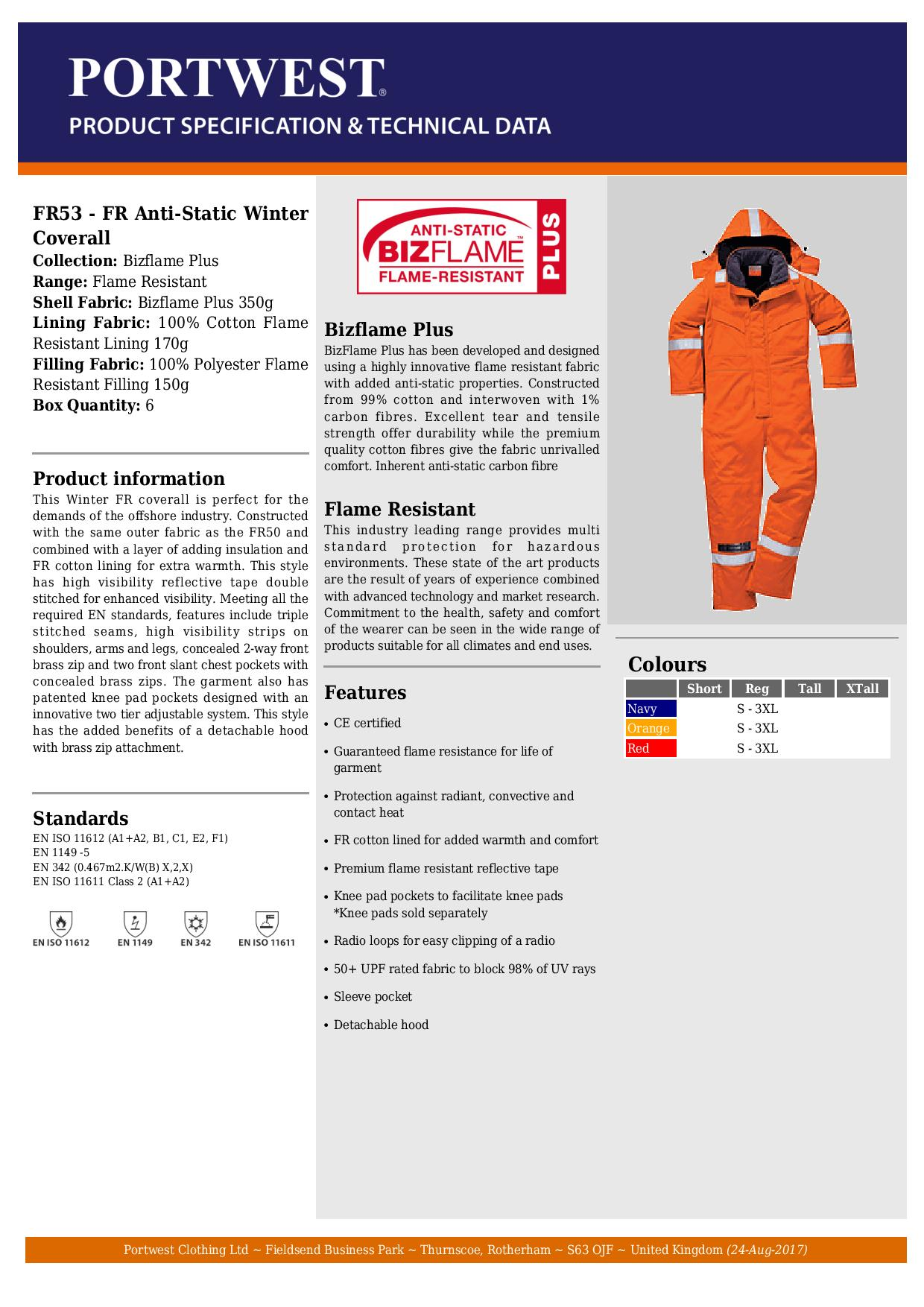 8bdb327cbcaf Portwest - Orange Flame Resistant Anti-Static Winter Coverall - 350g ...