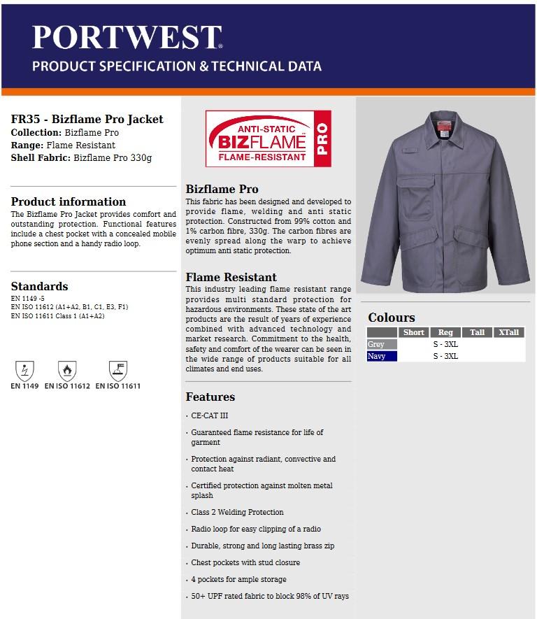 2X-Large Portwest FR35GRRXXL Bizflame Pro Jacket Grey