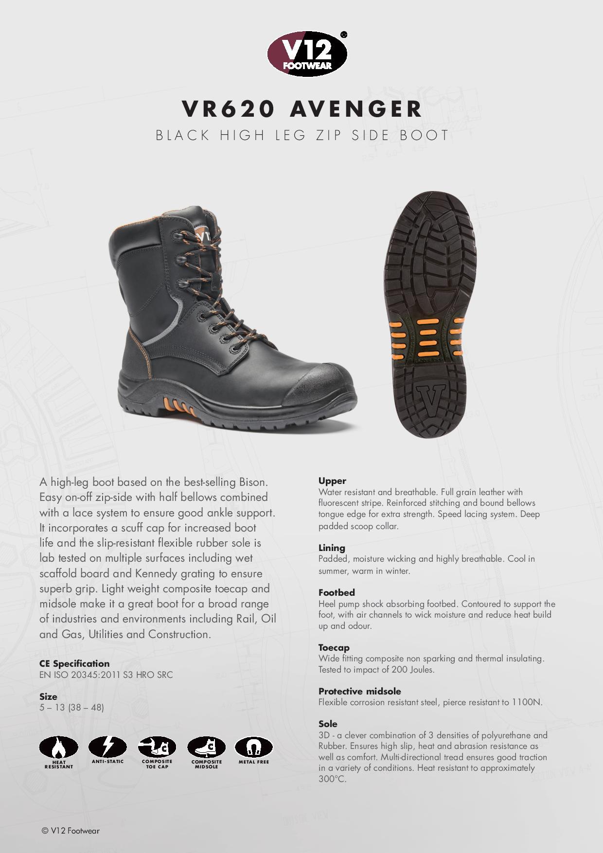 7496da9f0554 S3 HRO SRC - V12 Avenger IGS High-leg Boot - Conforms to EN ISO ...