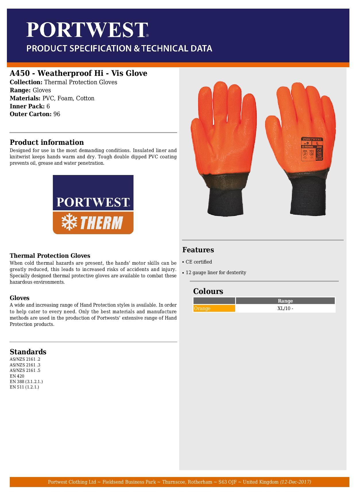 PORTWEST A450 weatherproof hi-vis orange PVC glove size XL
