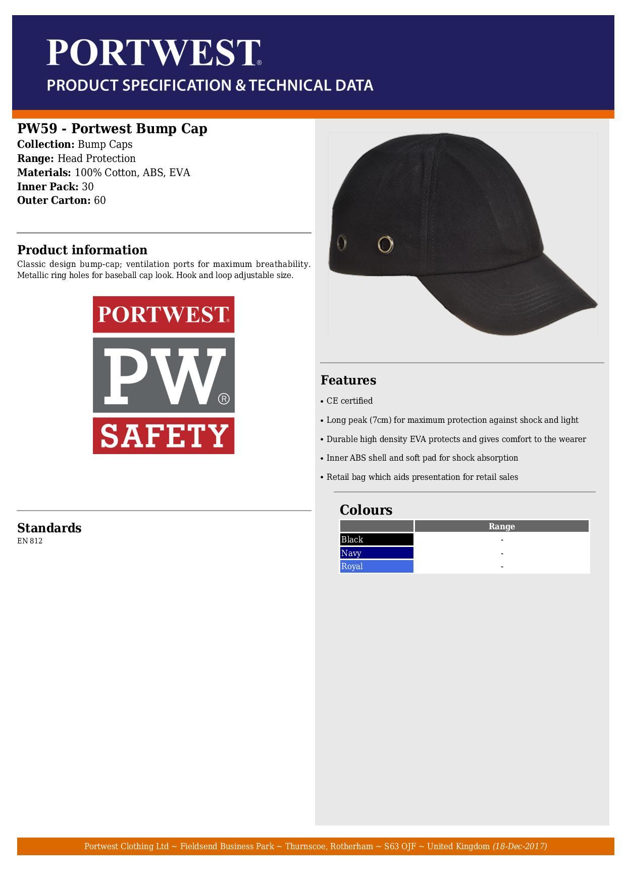 5adb1714 Portwest - Classic Design Black Bump Cap - Conforms to EN812 - [PW ...
