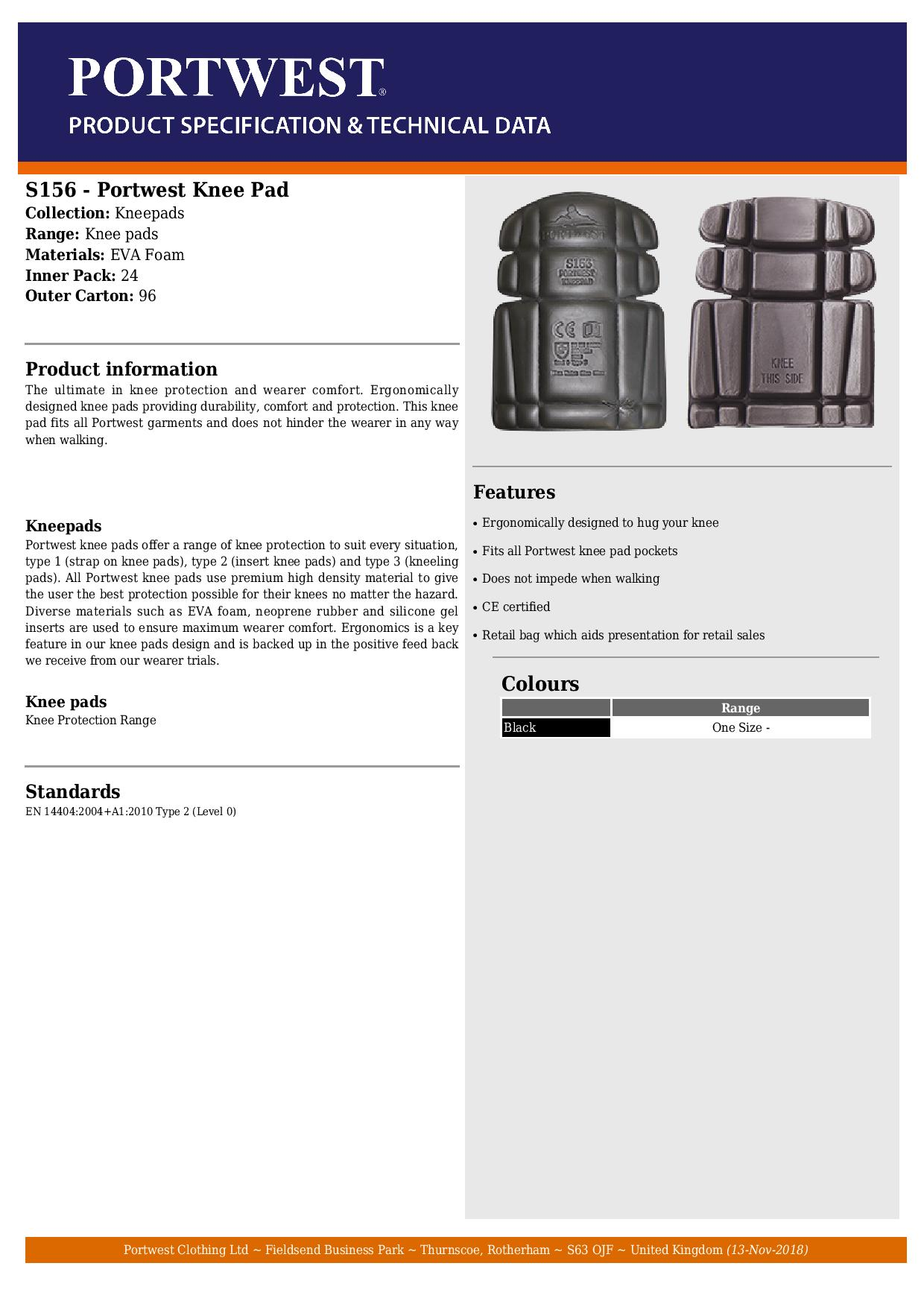 Portwest Black Knee Pad - Fits All Portwest Knee Pad Pockets