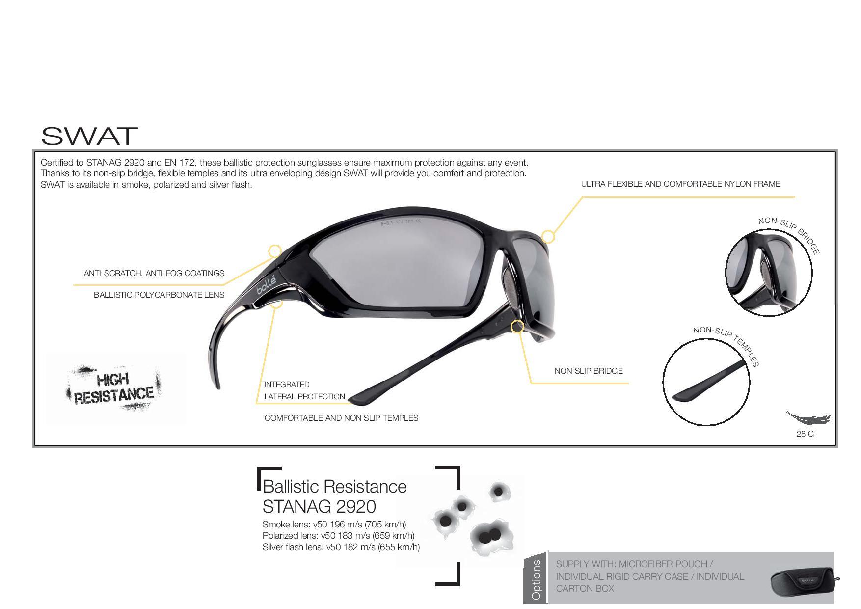 5811fe8db44f7 Bolle Swat Ballistic Sunglasses - Smoke Lense V50 196 m s - Conforms ...