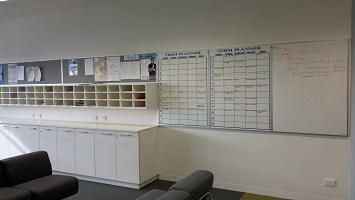 Staff Planning Whiteboards, acoustic dampening pin boards and school term planners.  Keep you staff informed within the confinds of the staff lounge
