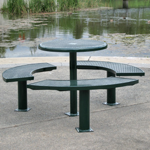 C0035 Picnic table setting perforated metal