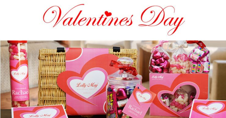 Personalised Valentines Gifts. Retro Sweet Jars, Hampers and Bottles of Bubbly !