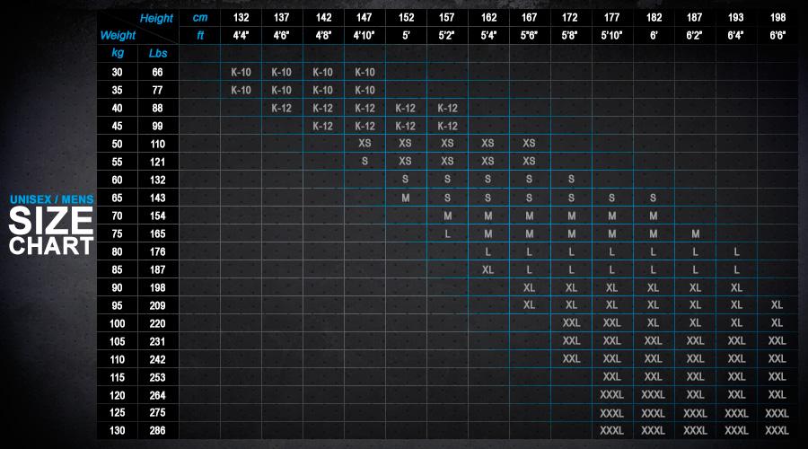 Zhik Size Charts