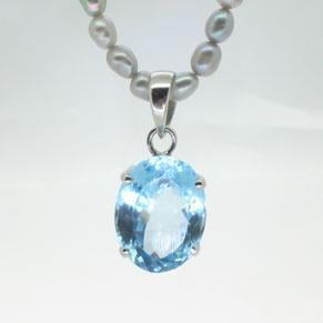 Christening present jewellery blue chalcedony necklace