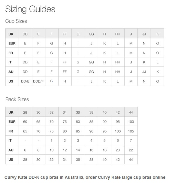 AUSTRALIAN BRA SIZES. Ensure you get the Bra that fits by consulting our bra fitting size charts below.