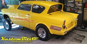 drag car Ford 105e Anglia gasser dragster
