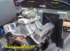 34 Ford Roadster engine bay Ford 351 Cleveland rocker covers finned sand cast alloy